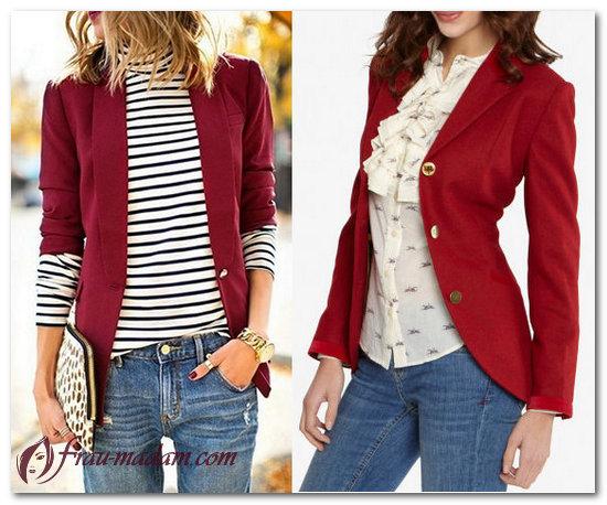 с чем носить красный пиджак женский