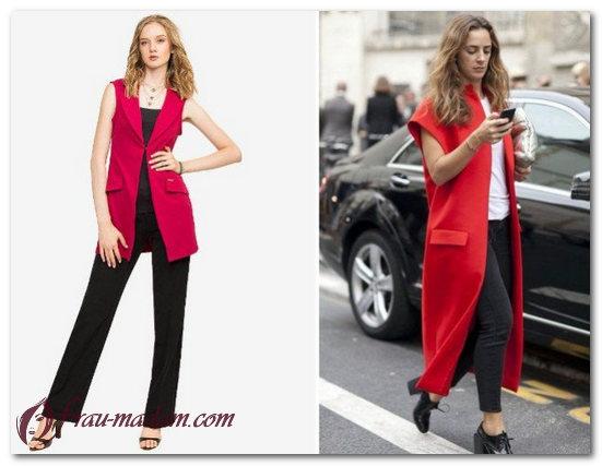 черное платье с красным пиджаком