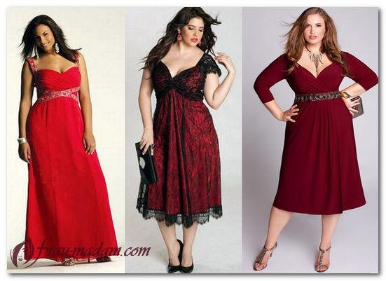 красное платье для полных фото