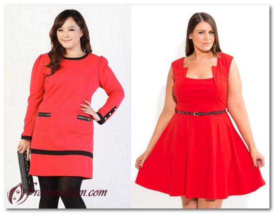 модели красного платья для полных