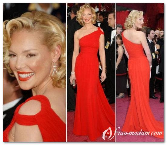 прическа и платье красного цвета