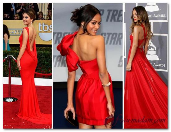 красное платье с открытыми плечами и спиной