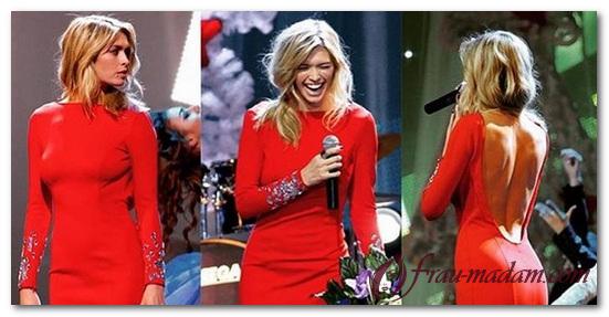 красное платье с открытыми плечами и спиной фото