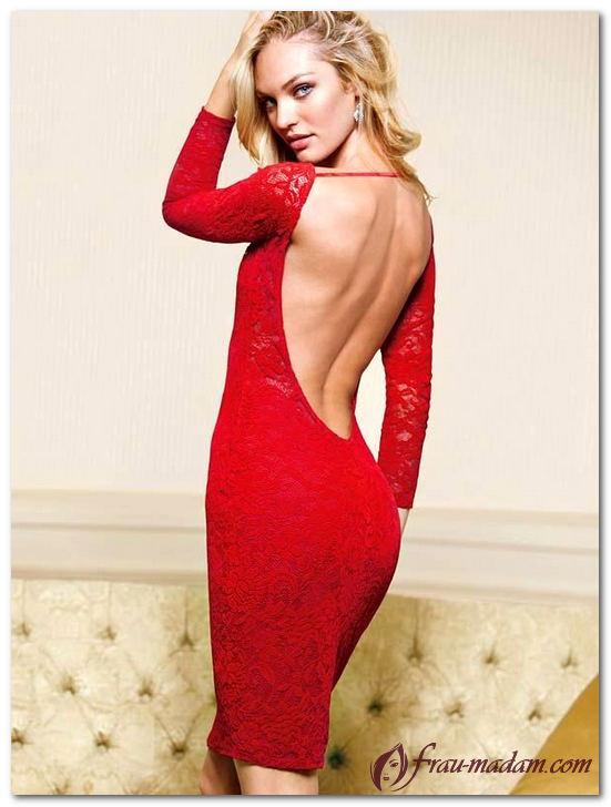 Кэндис Свейнпол красное платье с открытой спиной