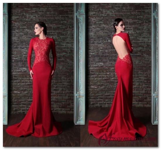 красное платье с открытой спиной как носить
