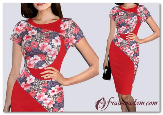 С чем сочетать красные платья в цветочек (фото)?