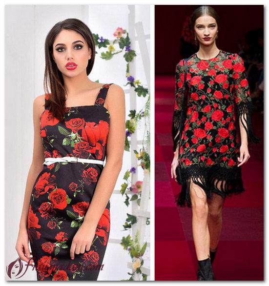красные платья с маками