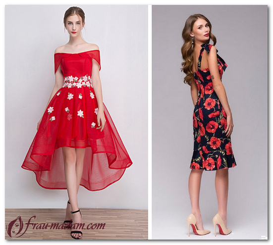 Готовые образы красных платьев с цветами
