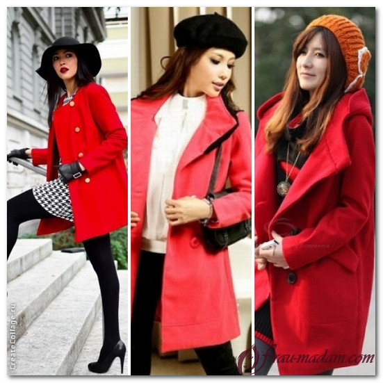 какого цвета шапка подойдет под красное пальто фото