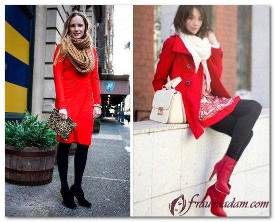 подобрать шарф к красному пальто