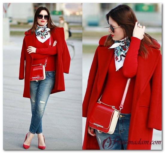 какой платок подойдет к красному пальто