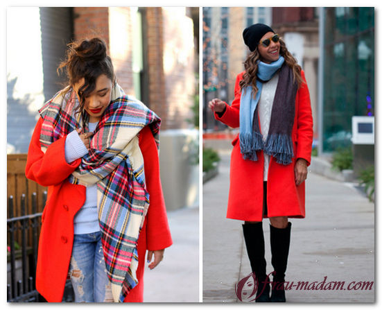 палантин к красному пальто