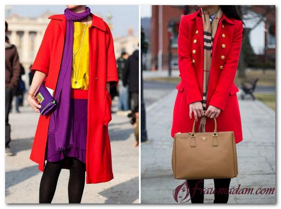 шарф к красному пальто фото