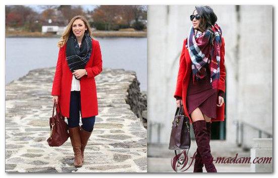 красное пальто какой шарф