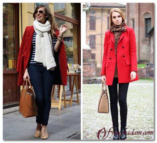 какой шарф подойдет к красному пальто