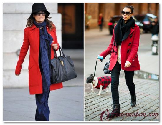 какой шарф подойдет к красному пальто фото