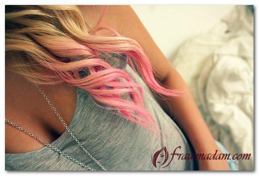 покраска кончиков волос в яркие цвета