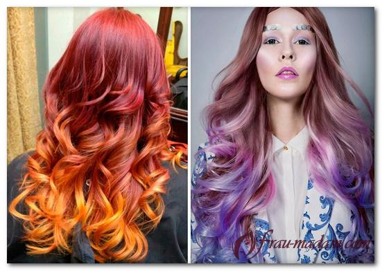Цветная покраска кончиков волос в яркие цвета