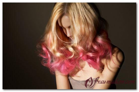 Цветное окрашивание кончиков волос в яркие цвета (фото, видео)