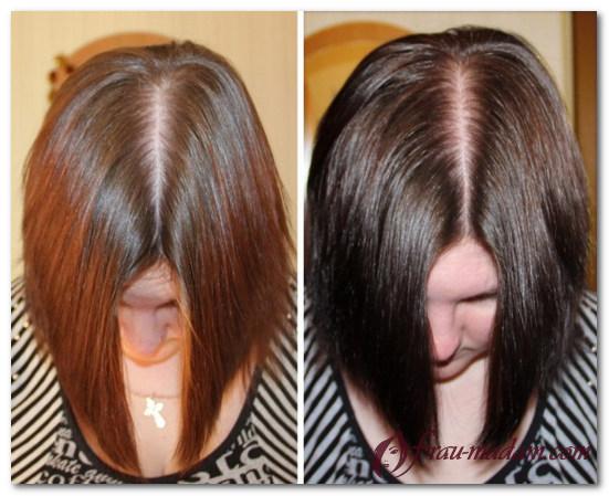 окрашивание волос чаем до и после