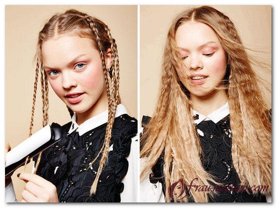 Как сделать волнистые волосы с помощью косичек 858
