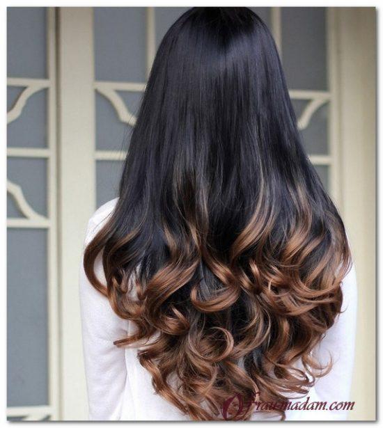 Покраска кудрявых длинных волос